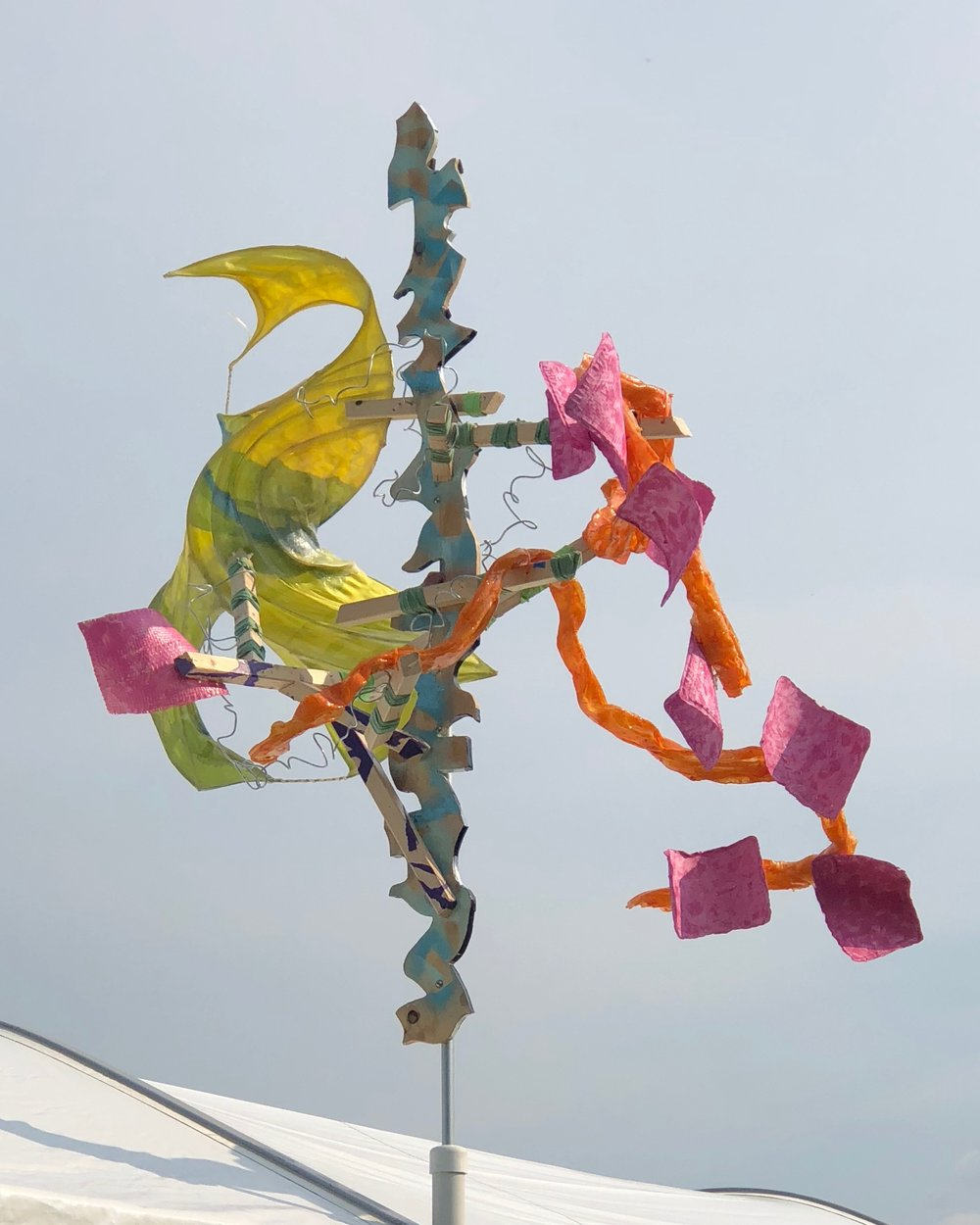 """""""Streaking and scattering the wind and the sun,"""" windspinner from Makeshift festival, Sunday Aug 12 2018"""