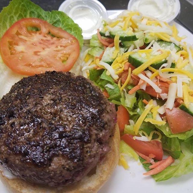 Our fresh side salad goes great with our steak burgers! Keep it local today and come see us for lunch! #keepitlocal
