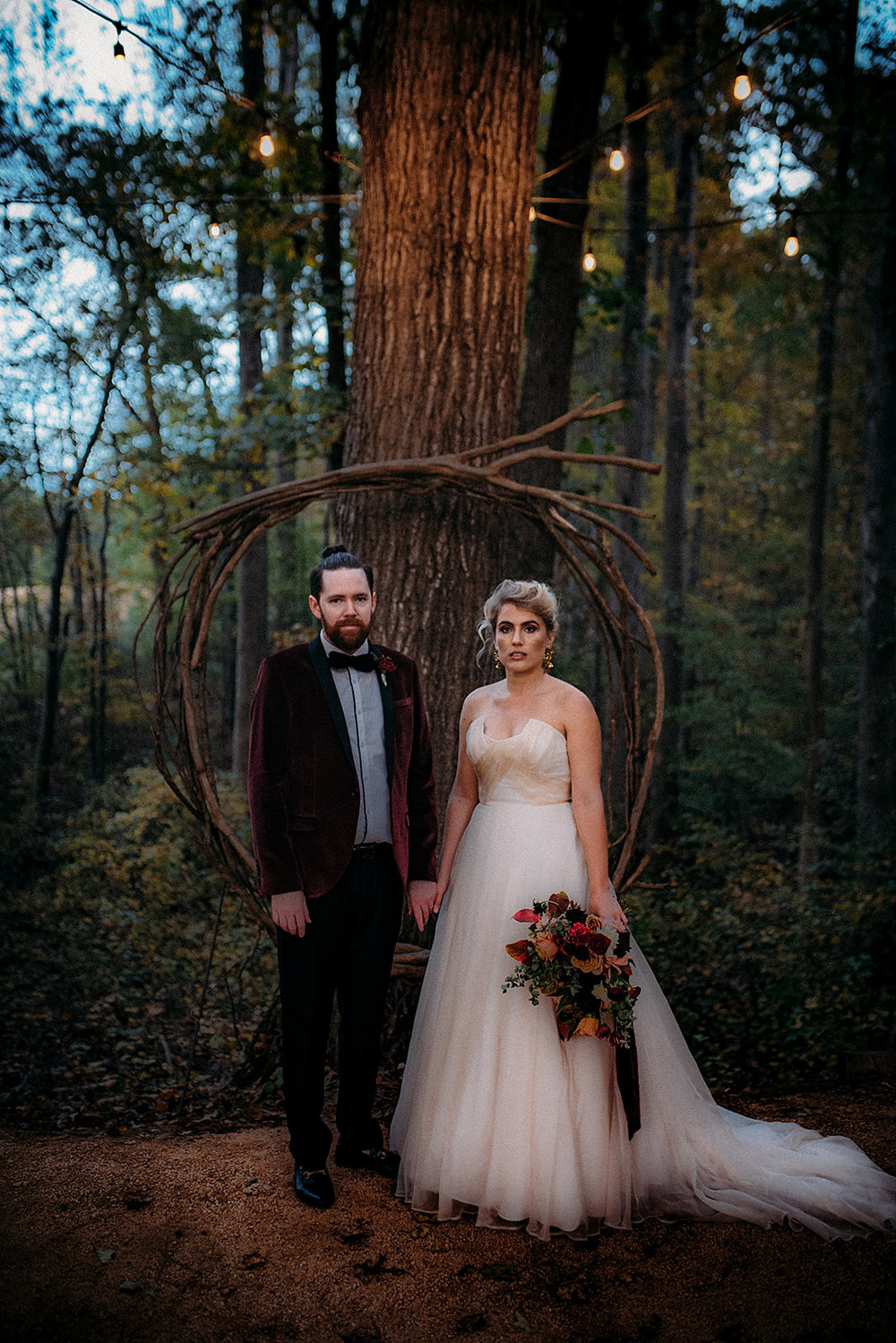 Dark and Moody fall wedding, Color Fields, Burgundy and Blush wedding bouquet, The Meadows- Raleigh