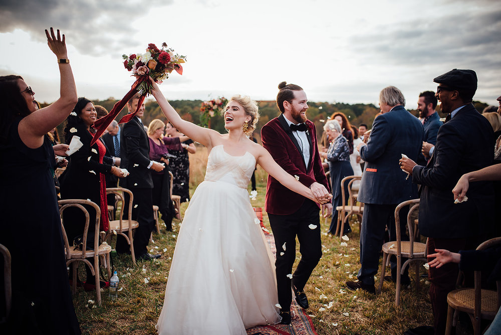 Fall Wedding Ceremony, Outside, Arbor, Blush and Burgundy Flowers, Color Fields, The Meadows- Raleigh