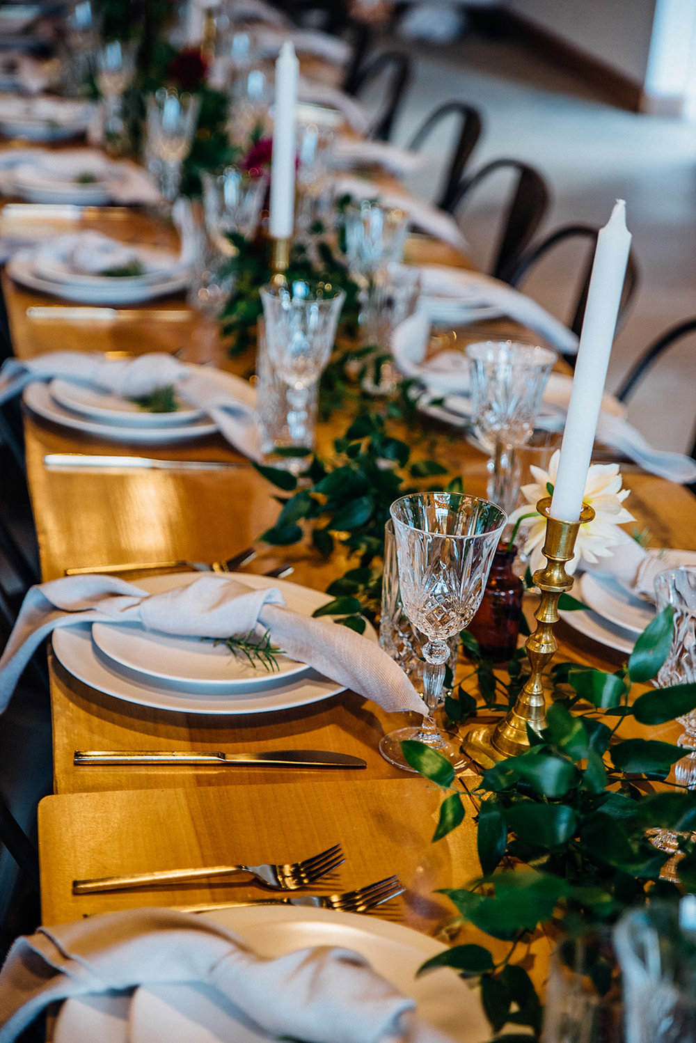 Fall Wedding, Farm Table reception with delicate greenery and gold accent, apothecary bottles, Color Fields, The Meadows- Raleigh, Dahlias, Blush and Burgundy