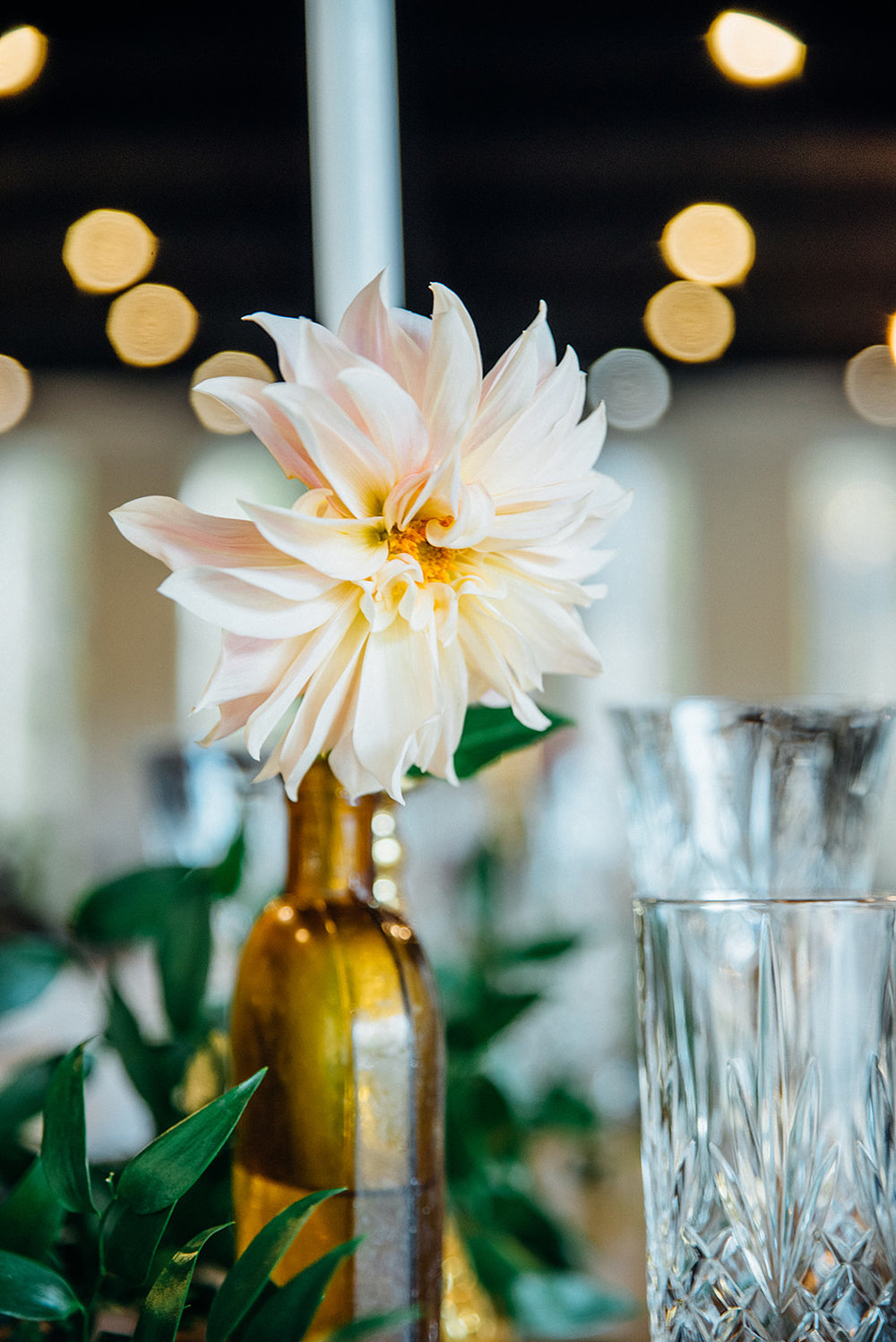 Fall Wedding, Farm Table Reception with greenery and apothecary bottles, cafe au lait dahlia, gold accents, Color Fields, The Meadows- Raleigh