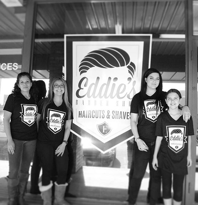 We present to you...the LADIES of Eddie's Barbershop!!! We still don't know how they can keep up with all the guys in here, but we sure do appreciate them!!! #EddiesBarbershop #LadyBarbers #BarbersBeLike #EleganceGel #BarberGang #LadiesCanCutToo #1Receptionist #BurstFade #Combover #ClutchCity #BarberMemes #NastyBarbers #BarberLife #WorldBarbershops #SharpFade #BlurryFades #TheWoodlandsTexas #SpringTexas #HairDiddy #WomenBarbers #Barberettes #LadiesIsPimpsToo