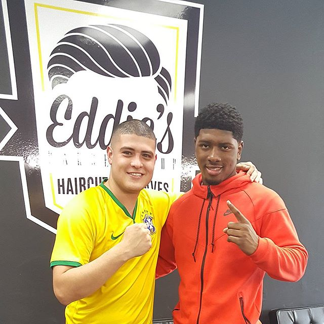It was good seeing our long time client and friend, TEAM USA boxing olympian @nuke_hands44 at the new shop. Look out for him, he's a certified beast in the ring! #EddiesBarbershop