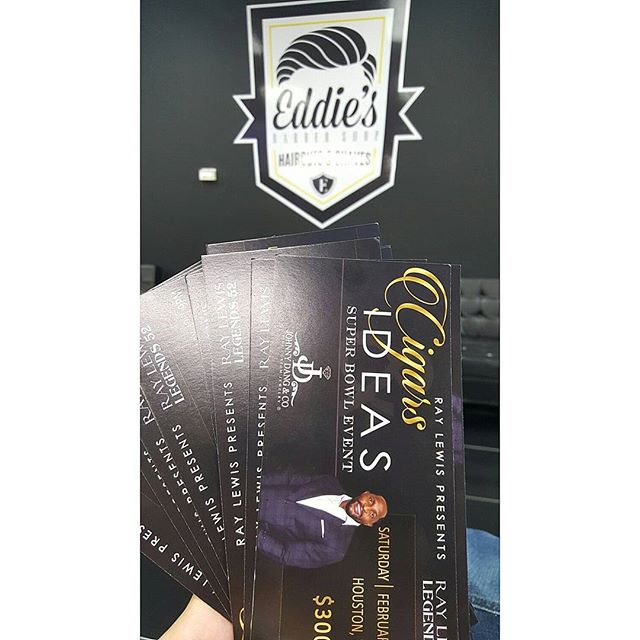 Calling all Entrepreneurs and Business Owners! Huge Networking Event for the Super Bowl hosted by Ray Lewis. We've got a few extra tickets, DM if you want to network with some of the biggest names in Sports, Business and Entertainment.  #superbowlli #RayLewis #NewEnglandPatriots #AtlantaFalcons #HoustonTexans #NRGStadium #CigarsAndIdeas #BoutToBeLit #Barberlife #BarberGang #BeardGang #HoustonBarbers #EddiesBarbershop #Barbersbelike #sharpfade #shearclub #AndisPro #WahlPro #TheWoodlandsTexas #SpringTexas #TowersWoodland #RayfordSawdust #TaperFade #BurstFade #ModernBarbers #LowFade