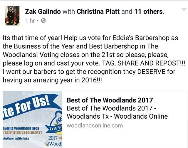 """Cast your vote!!! The Woodlands Online """"Best Of"""" is open for voting until the 21st. Vote now at woodlandsonline.com for Eddie's Barbershop as the Business of the Year and Best Barbershop to help our barbers get the recognition they DESERVE!! #EddiesBarbershop #SnapchatOfficial #Barberlife #BarberGang #HoustonBarbers #worldbarbershops #Barbersbelike #sharpfade #WoodlandsOnline #BestOf #30YearAnniversary #30YearsStrong #TopBarbershopInNorthHouston"""