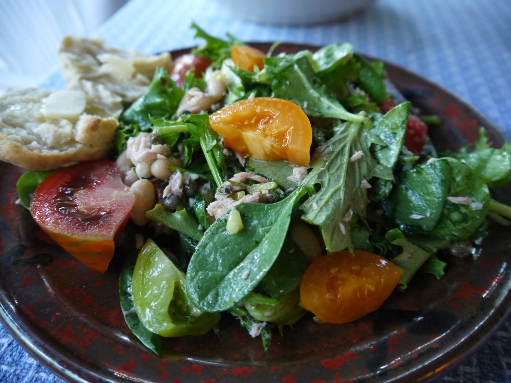 Tuscan Tuna Salad with White Beans -- served with a sourdough biscuit from  The Backyard Homestead Book of Kitchen-Know-How.