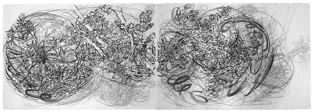 "One Good Turn Deserves Another , 2012, pencil and gouache on paper, 30"" x 88"""