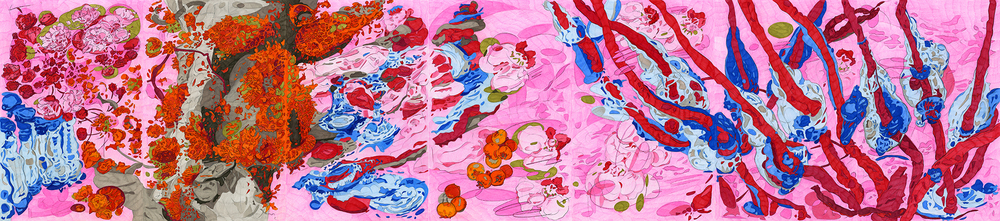 "Expulsion from Paradise,  2009, color pencil on paper, 17"" x 77"""