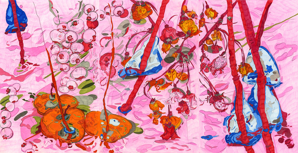 "Expulsion from Paradise,  2009, color pencil on paper, 17"" x 33"""