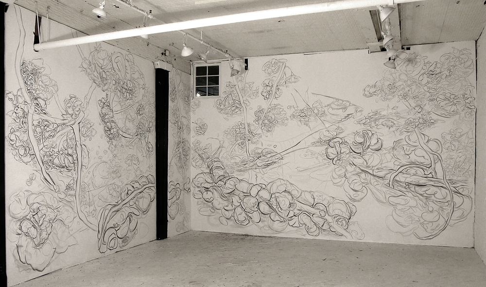 Spring Festival: Ice Bridge with Blossoms,  2007, pencil and acrylic on wall, Emergency Arts, New York, NY