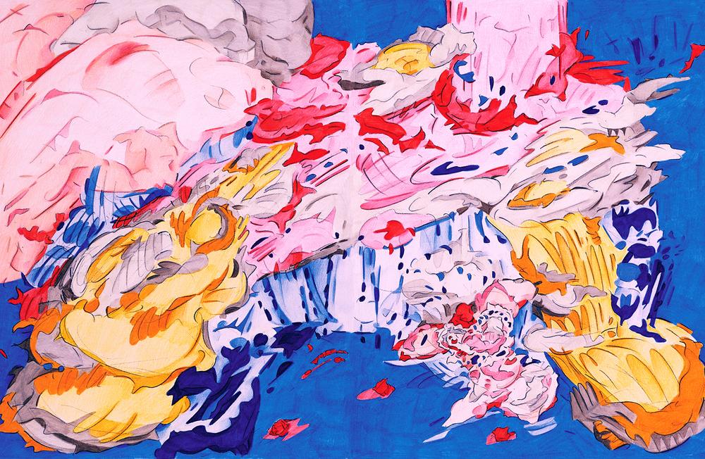 """Volitia Waits Beneath the Falls,  2001, color pencil on paper,14"""" x 22"""""""