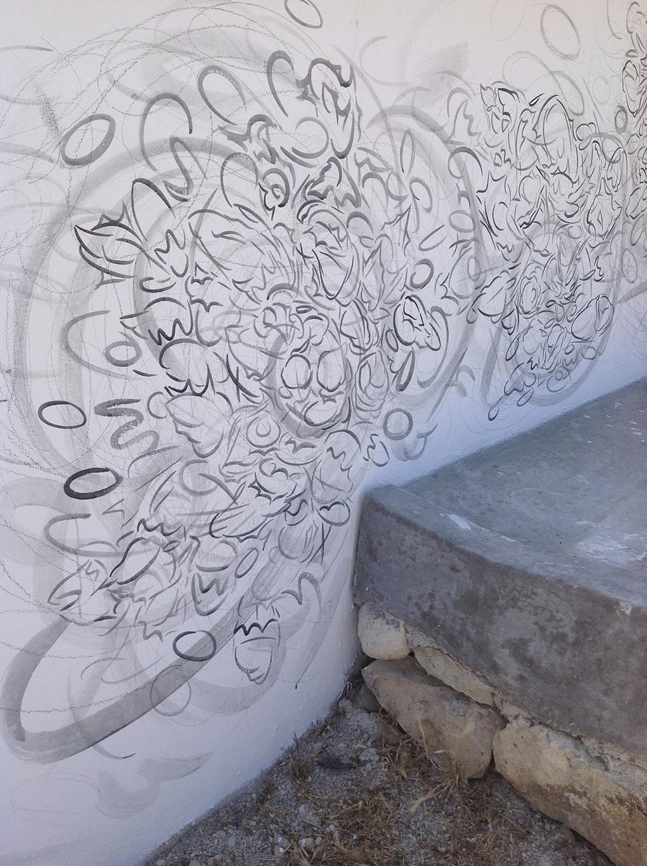 SUNBURST,  2013, acrylic on wall.   Joya: arte + ecología, Cortijada Los Gázquez, Vélez Blanco (Almería), Spain