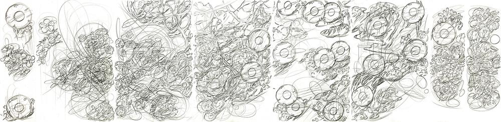 """Double Self Split color #4,    2015,  pencil on paper  ,    17"""" x 70"""""""