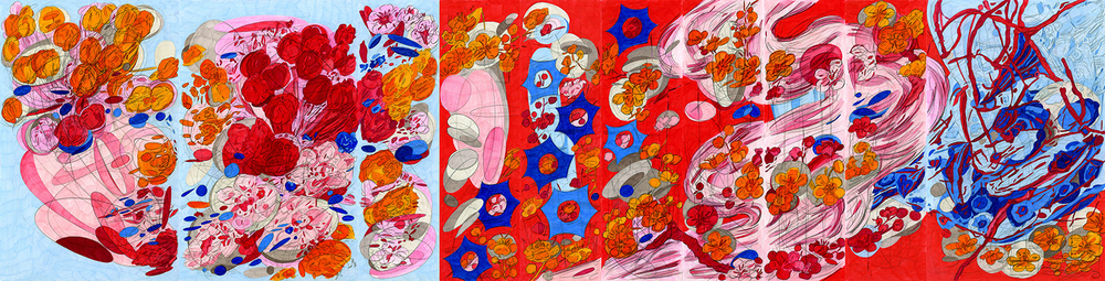 "Double Self Split #5, 2015/2016, lápiz de color sobre papel, 17"" x 69"""
