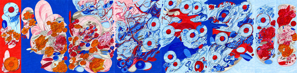 "Double Self Split color #4, 2015/2016, color pencil on paper, 17"" x 69"""