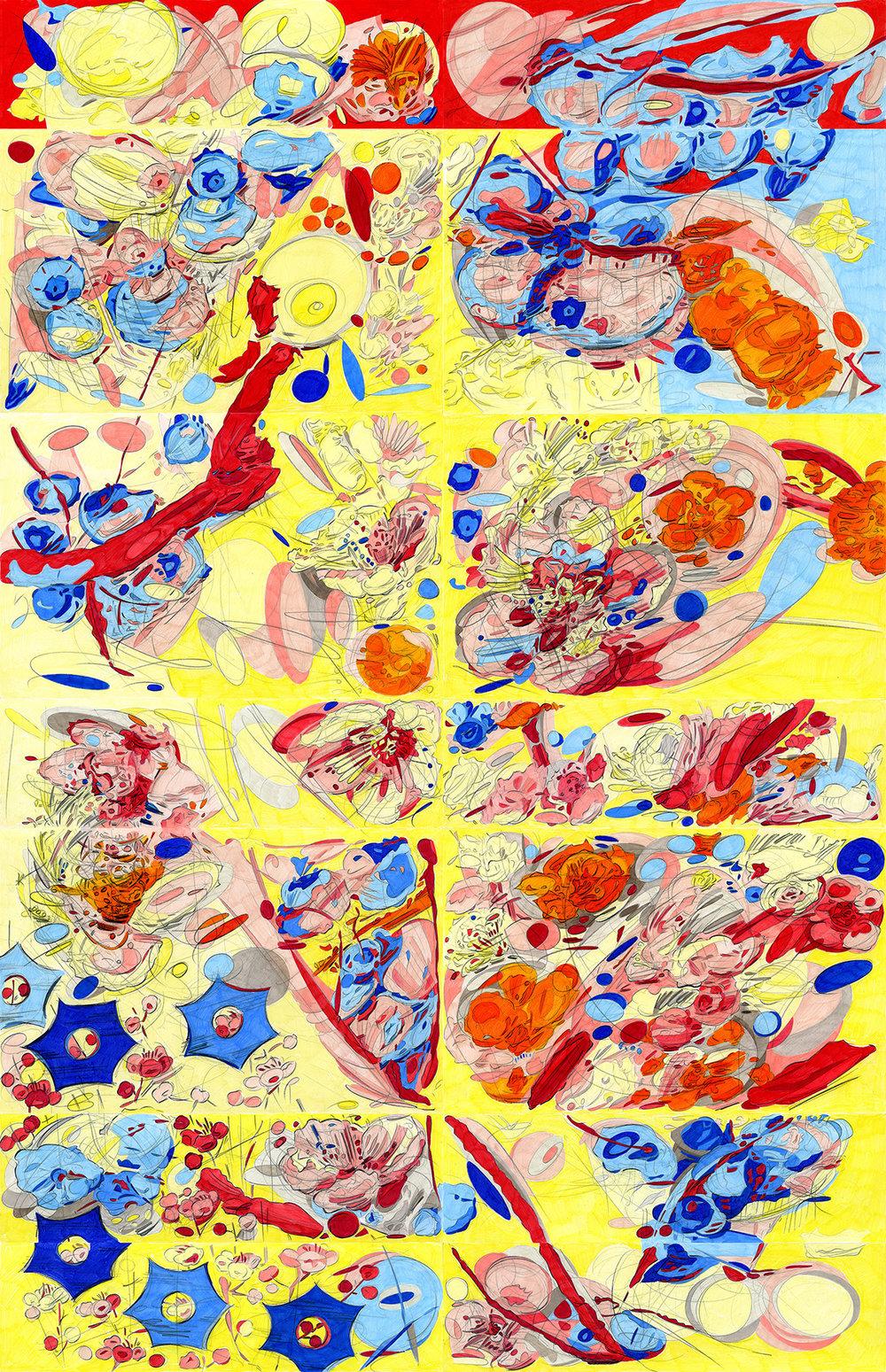 "Volitia Looks Up, 2017, color pencil on paper, 53"" x 37"""