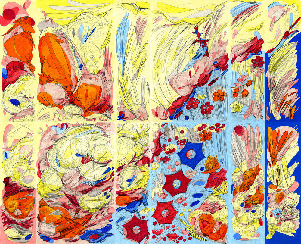 """Who's Afraid of Red, Yellow and Blue 3,  2017, color pencil on paper, 34"""" x 42"""""""