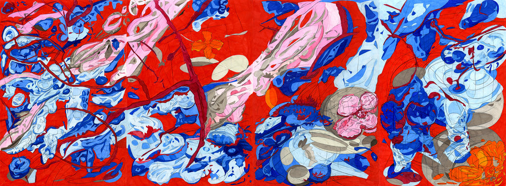 "A Concentrated Outpouring,  2012, color pencil on paper, 17"" x 44"""