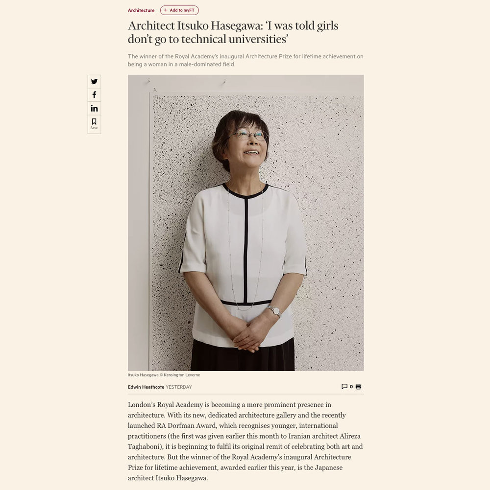 Itsuko Hasegawa for The FT Weekend. - New portrait in the FT Weekend Arts & Culture | Itsuko Hasegawa, winner of the Royal Academy's inaugural Architecture Prize.You can read the story here: www.ft.com/ItsukoHasegawa