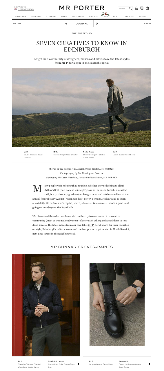 The Journal for Mr Porter - My images shot for Mr Porter in Edinburgh are live on The Journal.You can take a look at the article here: www.mrporter.com/seven-creatives-to-know-in-edinburgh/