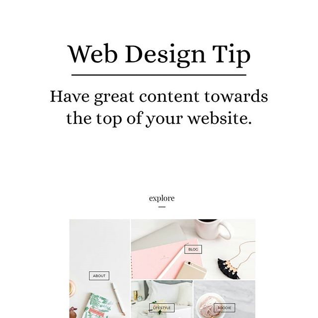 Web Design Tip: Have great content towards the top of your website. Don't make your readers have to scroll too much before they even know what you do. . If you would like help with your website, I have special pricing in December. Contact me and I'll send you the details. :) . . . . . . . . . . .  #weddingwednesday #weddingplanner #utahweddingplanner #floridaweddingplanner #digitalnomad #theknot #femaleentrepreneur  #southernweddings #womeninbusiness #savvybusinessowner #creativeentrepreneur  #lifestyle #lifestyleblog #fashionblgger #pursuepretty #liveauthentic #thatsdarling #flashesofdelight #theeverygirl #athome  #theeverygirlholiday #bloggermom #momblogger #bloggingmom #girlboss #ladyboss #utahwedding  #communityovercompetition #webdesign