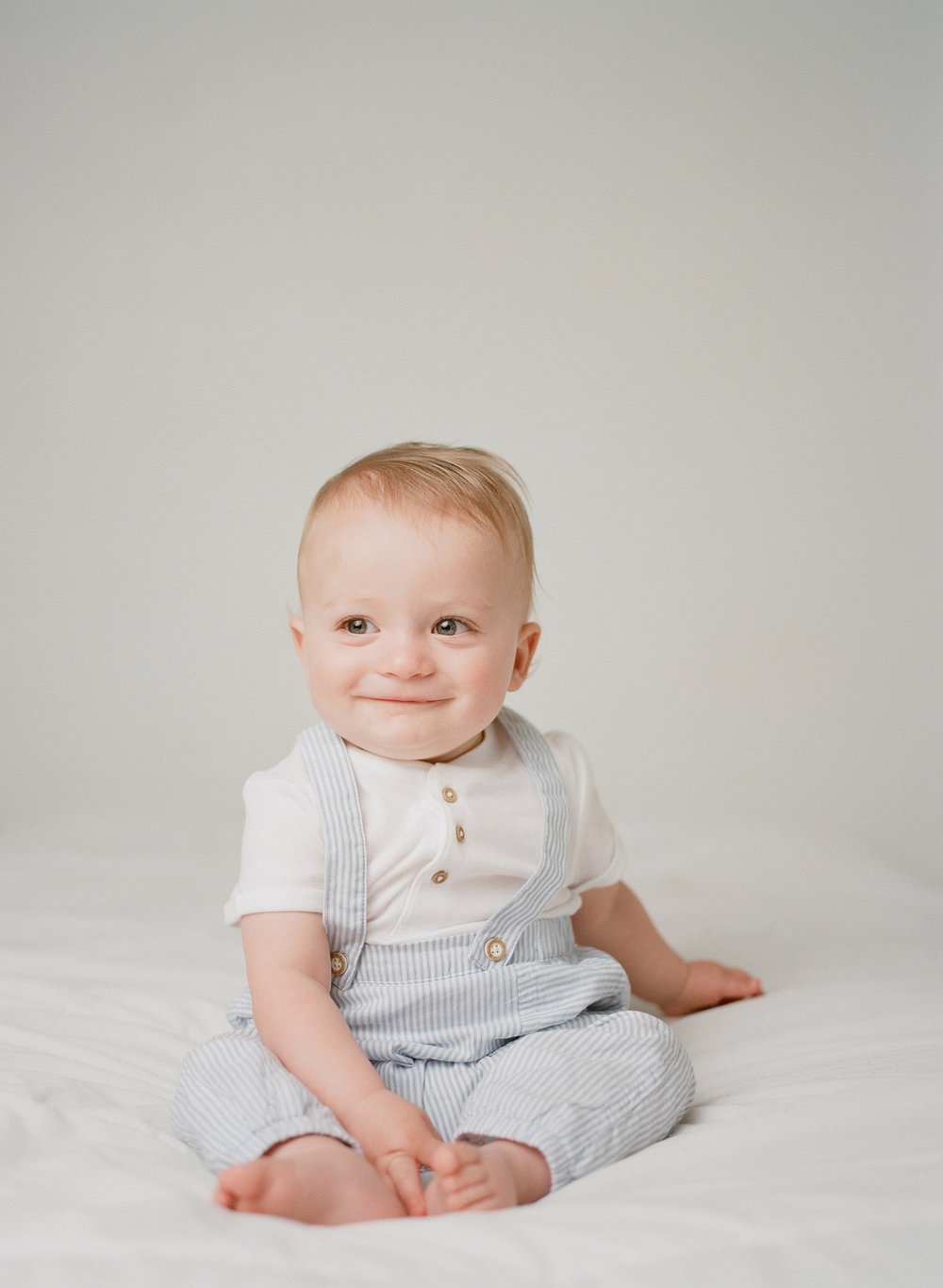 light blue seersucker overalls studio photography in seattle | sandra coan family photography