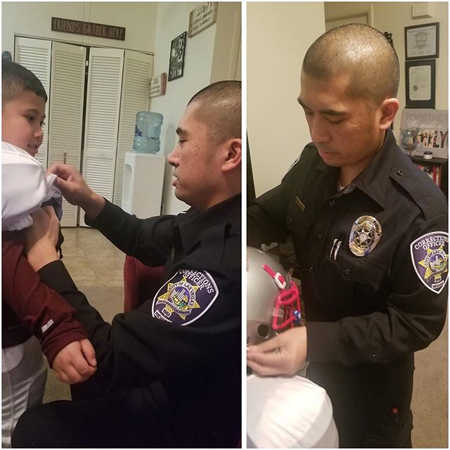 This City of Las Vegas Department of Public Safety Correction Officers son was getting ready for football practice and his dad was getting ready for a OT shift at work. His dad picked up an extra OT shift to help pay for the boys fundraisers for football and marching band. What a great guy!! Our community is blessed to have officers like him! 💙  #clvdps #correctionsofficer #humanizethebadge