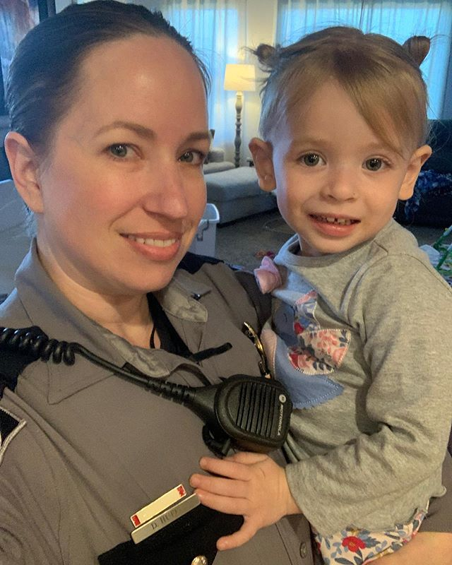 This little cutie very reluctantly let her mommy go to work. 💗  #NHP #Trooper #HumanizeTheBadge #LEOKids #LEOKidProblems #ThinBlueLine