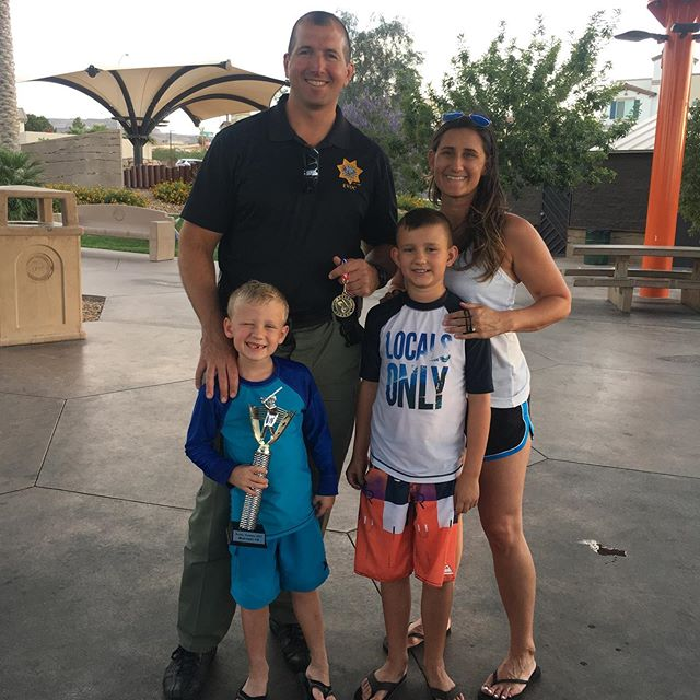 Double 🏆 fam. Even with crazy schedules, their LEO still finds time to coach and pitch for the Little Leaguer! ⚾️👮🏻‍♂️👨‍👩‍👦‍👦 #lvmpd #police #humanizethebadge #policekids #policewife #policefamily #thinblueline #dad #coach #littleleague #communityhero
