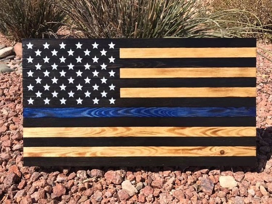"A great event to support and they also have some awesome raffle prizes! These two flags will be a few of the raffle items available thanks to @knotfornothingwooddesigns ! 🖤💙🖤 Rock n Honor Concert to support Police Unity Tour ""Team Blue Line Valor"" (18 +) Saturday, March 23 @ 7pm"
