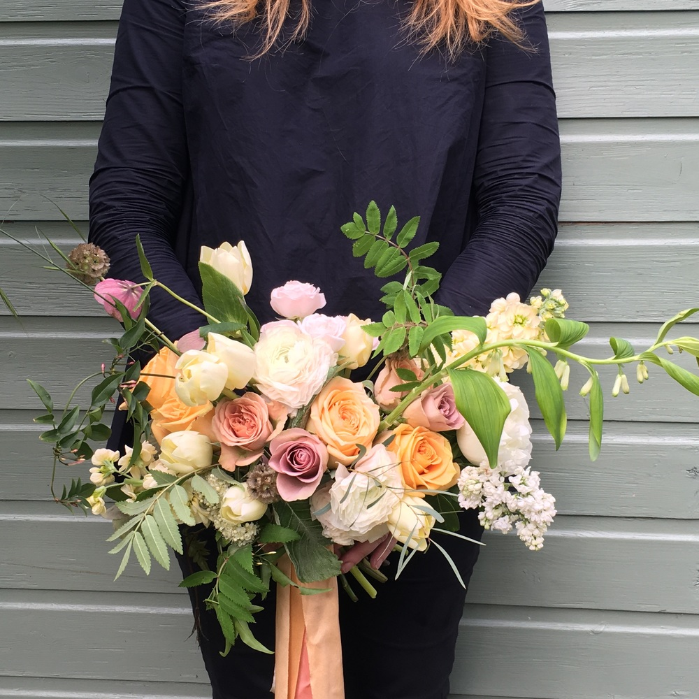 A wild, nude and blush bouquet by Bloomologie
