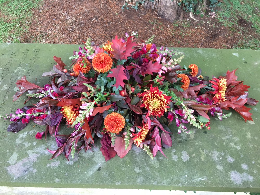 Funeral double-ended coffin spray Bloomolgie Florist London