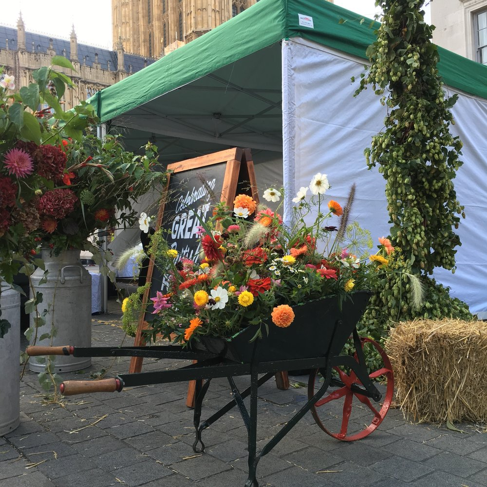 Bloomologie's British flower displays for the NFU's Back British Farming campaign in Westminster