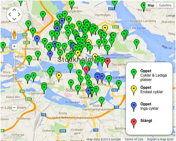 Источник: www.citybikes.seКарта стоянок велосипедов в 2014 году