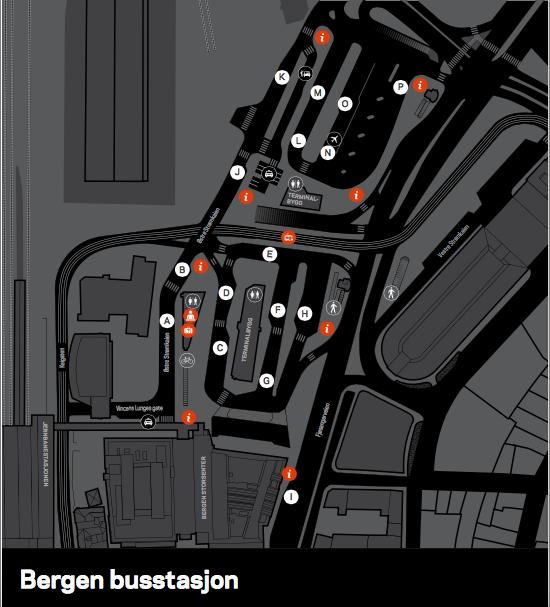 Схема автобусного вокзала Бергена и расположения перронов.Источник: www.skyss.no