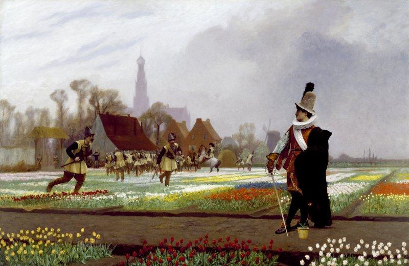 Солдаты пытаютсятоптать тюльпаны, чтоб стабилизировать рынок. Источник:commons.wikimedia.org
