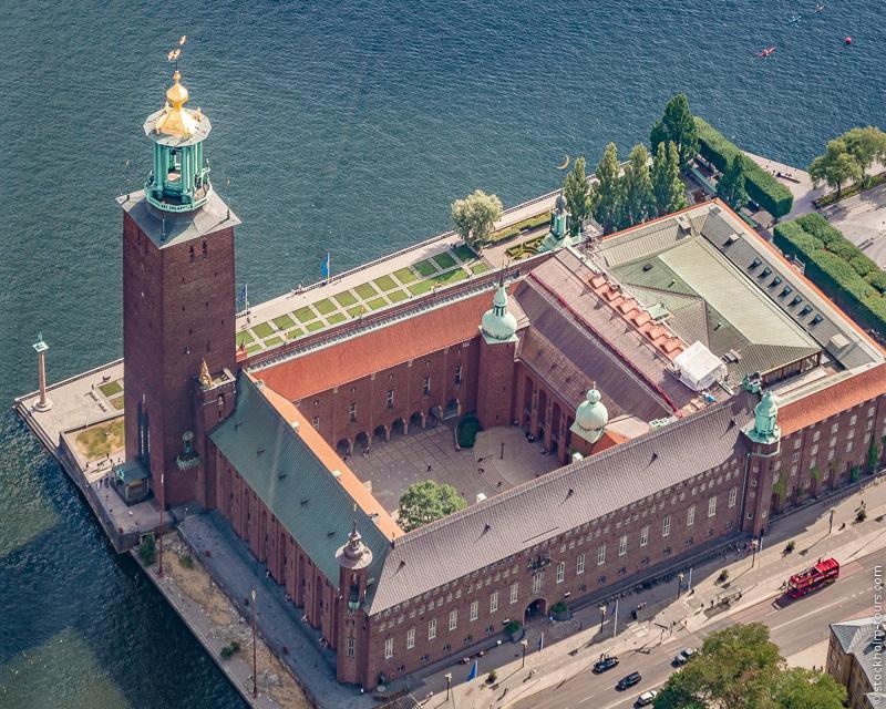Стокгольмская ратуша с высоты птичьего полёта