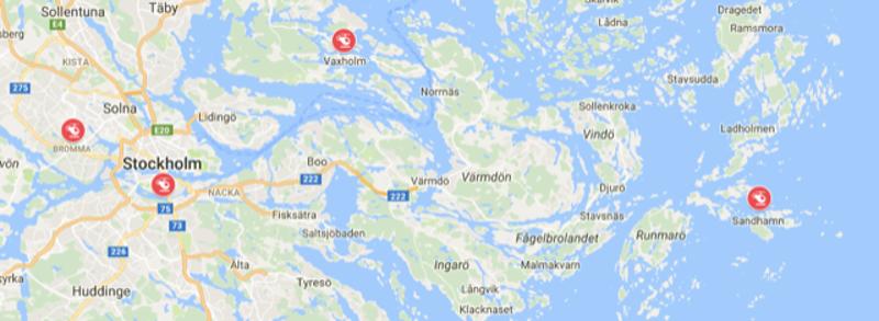 Карта полёта. Тут отмечены аэропорт, Старый Город, Ваксхольм и дальше всего – Сандхамн
