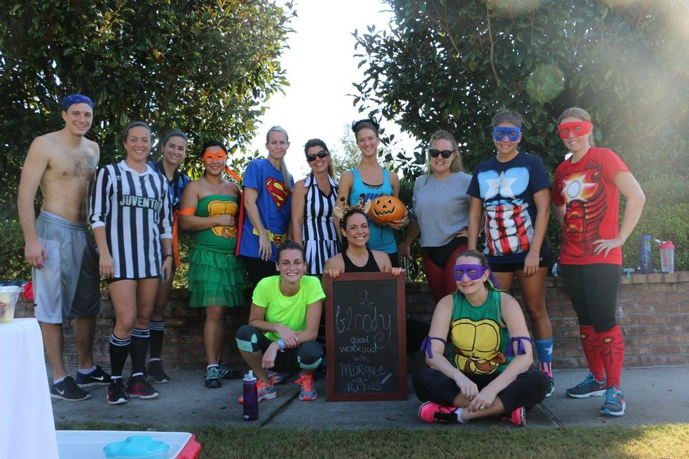 Photo from one of my themed boot camps (Halloween-themed, obvi). Of course I was a giraffe.
