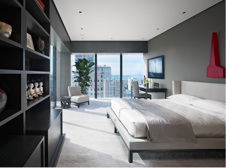 Houzz empty nester hi-rise, Russian Hill-bedroom