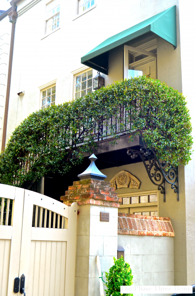 Charleston ivy covered balcony, side