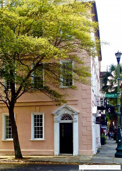 charleston pink stucco home