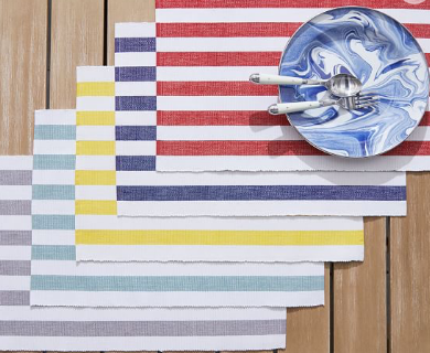 PB striped placemats