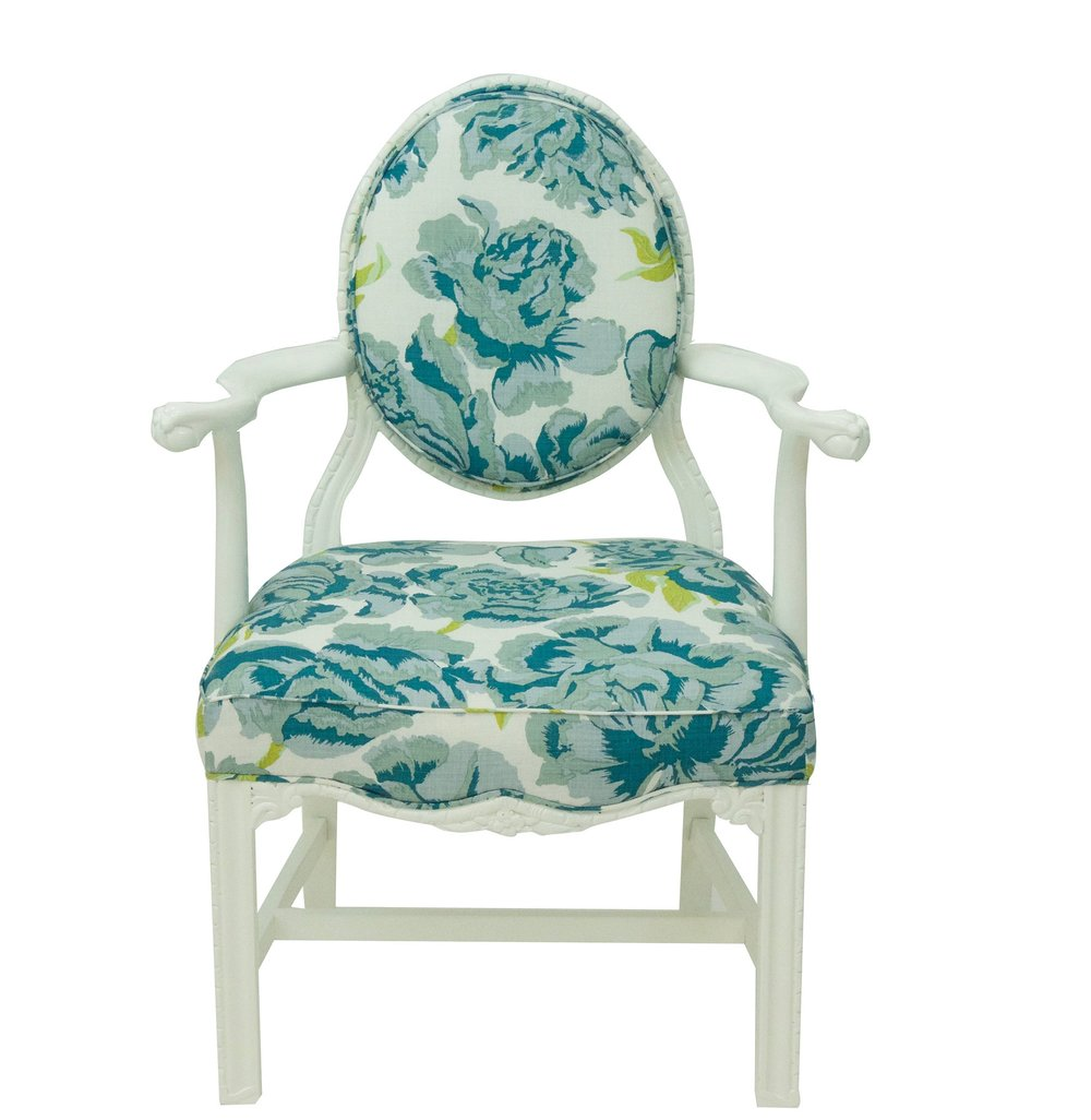 Blue Floral Chippendale Style Armchair