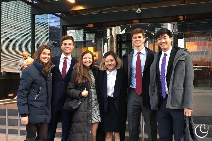 HCCG Case team on Client Site Visit, Fall 2016 L to R: Katherine Mann '19, Tyler Frances '18, Taylor Li '18, QQ Yang '19, Alec McNiff '18, Samuel Huang '18