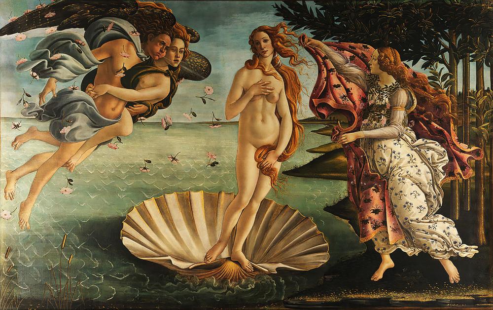 The Birth of Venus.  Botticelli. 1486.