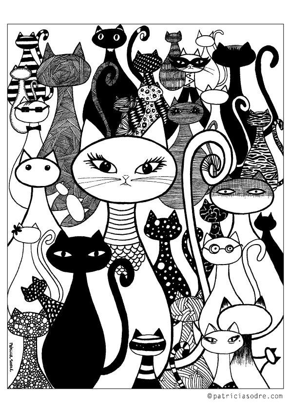 """CAT FAMILY"" COLORING ILLUSTRATION  Click on the image above to open the large file and save. It's ready to print! Enjoy! :)"