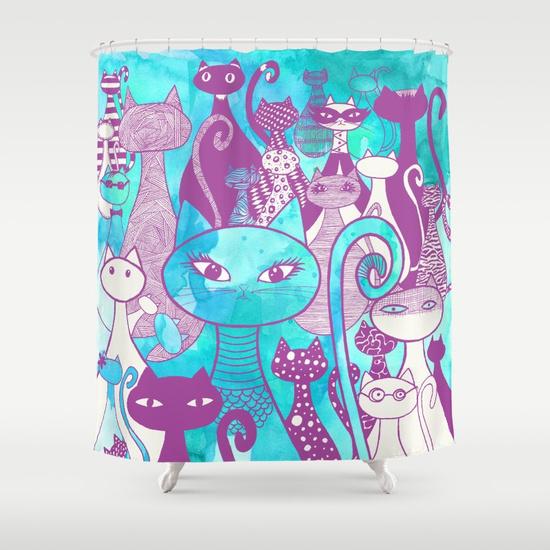 cat-family-ii-shower-curtains.jpg