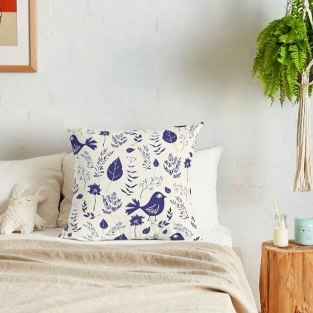 'Floral Blue Birds' textile design 🐦  Available at our @spoonflower shop. Link in bio ⬆️ #birdlovers #designstudio . . . . . . #floral #birds #textiledesign #spoonflower #spoonflowerde #spoonflowerfabric #patriciasodre #pillow #bedding #homedecor #roomdecor #estamparia #estampa #pattern #patternmaker